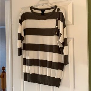 Ann Taylor Factory Striped Side Button Top, M